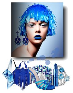 """Blue again #2."" by babysnail ❤ liked on Polyvore featuring Thierry Mugler, The Volon, Natasha Accessories, Lipstick Queen, Avenue and Charles David"