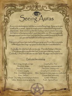 Seeing Auras for homemade Halloween Spell Book.