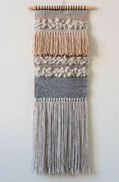 handwoven wall hanging by wednesdayweaving. handwoven wall hanging / tapestry b Weaving Wall Hanging, Weaving Art, Tapestry Weaving, Loom Weaving, Hand Weaving, Wall Hangings, Wall Tapestry, Weaving Projects, Macrame Projects