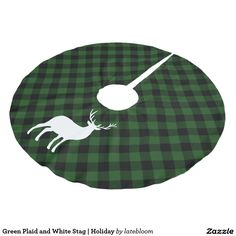 Green Plaid and White Stag | Holiday Brushed Polyester Tree Skirt