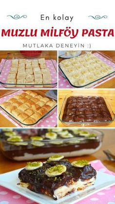 En Kolayından Muzlu Milföy Pasta (videolu) – Nefis Yemek Tarifleri Sarma ve dolma – The Most Practical and Easy Recipes Pastry Recipes, Cooking Recipes, Dinner Recipes, Dessert Recipes, Good Food, Yummy Food, Delicious Recipes, Breakfast Items, Trifle