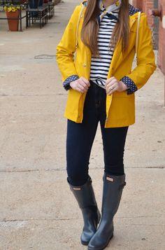 Yellow Rain Coat, Striped Shirt & Hunter Boots