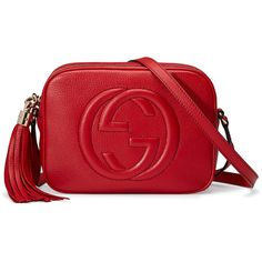 Gucci Soho Leather Disco Bag found on Polyvore featuring bags, handbags, shoulder bags, gucci, red, women, embossed leather handbags, leather shoulder handbags, red leather purse and hand bags
