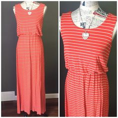☀️Maxi dress - orange Long orange maxi dress with tan stripes. Elastic empire waist allows it to drape nicely over your hips. Great condition! Wash and wears nicely! Apt. 9 Dresses Maxi