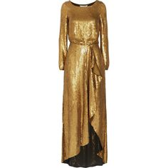 Diane von Furstenberg Delani sequined silk maxi dress (£898) ❤ liked on Polyvore featuring dresses, gold, brown maxi dress, sequin dress, sequin maxi dress, sequin embellished dress and wrap dress