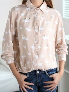Pink Lapel Long Sleeve Ostrich Print Shirt