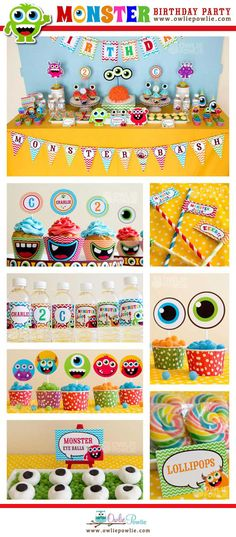 Monster Bash BIRTHDAY Party Printable Package  & Invitation, INSTANT DOWNLOAD, You Edit Yourself with Adobe Reader