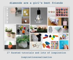 DIY Roundup of Seventeen Diamond Tutorials and Inspiration from inspiration & realisation's weekly series