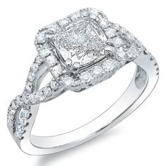 A sparkling crisscross shank adds extra allure to this brilliant cushion cut diamond   #engagementrings #sparkle #ohwowyes