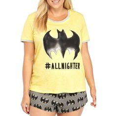 Briefly Stated Yellow Plus Size Batman Boxer Set - Women's (44 AUD) ❤ liked on Polyvore featuring plus size women's fashion, plus size clothing, plus size intimates, plus size sleepwear, plus size pajamas, yellow, plus size pyjamas, women's plus size sleepwear, plus size pjs and womens plus size pajamas
