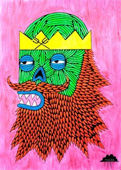 © Mulga 2012, Zombie King of the Sea, Acrylic and Posca on Paper, 55 x 75 cm