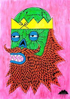 © Mulga 2012, Zombie King of the Sea, Acrylic and Posca on Paper, 55 x 75 cm
