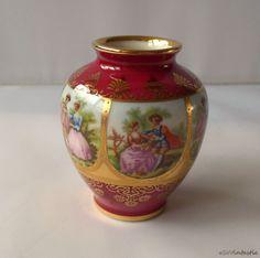 Rare Old Vienna style JKW Decor Carlsbad (Karlsbad) miniature vase, with pattern Fragonard Love story 1930s     Josef Kuba by SoVintastic, €38.50
