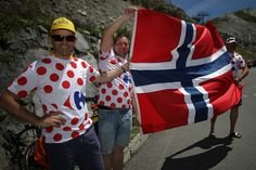 Fans wait at the top of the Col du Tourmalet during stage eight of the 2016 Le Tour de France a 184km stage from Pau to BagneresDeLuchon on July 9...