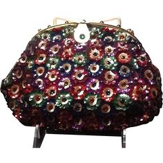 Vintage Josef French Sequined Evening Purse with Jeweled Frame