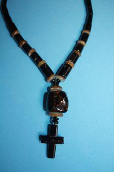 @@@BlackCoral4you Black Coral Crucifix-Shell and Sterling Silver / Crucifijo de Coral Negro-Concha y Plata de Ley