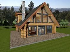 Log cabin plan with two floor plan options. Log package price for handcrafted log house in Douglas Fir or Western Red Cedar. Custom log home plan ideas.