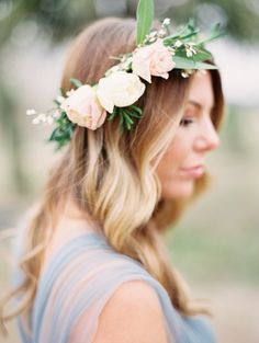 Fresh bridesmaid flower crown: http://www.stylemepretty.com/2016/05/12/how-to-flower-crown-for-brides/