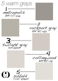 Warm Gray Paint Colors for Walls and Cabinets. Metropolis CC-546 Benjamin Moore. Rockport Gray HC-105 Benjamin Moore. Twilight Gray SW 0054 Sherwin Williams. Collingwood OC-28 Benjamin Moore. Sibbald CLW 1036W. #WarmGray #WarmGrayPaintColors #BenjaminMoorePaintColors Via Callooh Callay.