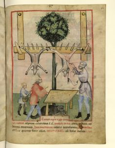 Nouvelle acquisition latine 1673, fol. 62, Marchand de viande de chèvre. Tacuinum sanitatis, Milano or Pavie (Italy), 1390-1400.