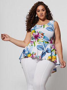 Majella Tropical Print Peplum Top - Fashion To Figure Curvy Outfits, Fashion Outfits, Womens Fashion, Plus Size Fashion For Women, Plus Size Women, Plus Size Dresses, Plus Size Outfits, Plus Size Grunge, Tropical Outfit