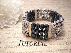 Cette liste est pour un tutoriel PDF pour une Swarovski Crystal deux tons argent Sterling bracelet Bracelet manchette. Si vous souhaitez