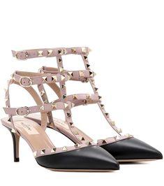 VALENTINO Rockstud Leather Kitten-Heel Pumps. #valentino #shoes #pumps