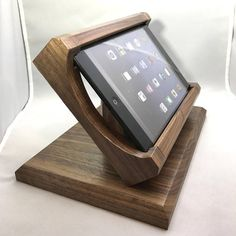 Black Walnut Tilting iPad Mini Stand for Square POS and other