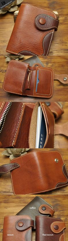 Handmade biker leather wallet with chain coffee red brown short wallet | EverHandmade