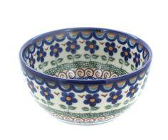 Aztec Flower Dessert Bowl - Blue Rose Polish Pottery