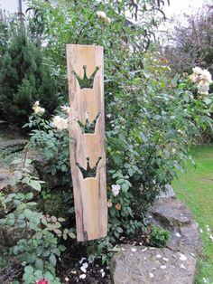 Gartendekoration - Kronenbrett - ein Designerstück von Grombach bei DaWanda Wood Plank Art, Garden Architecture, Garden Fencing, Wood Projects, Diy And Crafts, Things To Come, Woodworking, House Design, Decoration