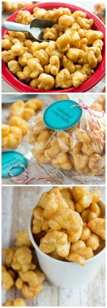 Caramel Corn Puffs - These crunchy, salty, sweet, melt-in-your-mouth bites have all the flavor of homemade caramel popcorn, without the annoying hulls! Good luck trying to eat only one handful...