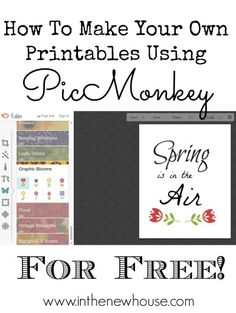Pic Monkey is free to use and perfect for making your own printables for home decorating. This super easy tutorial will show you how to rock your next project. Click through to get started!
