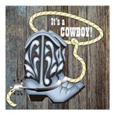 Black Blue Barn Wood Cowboy Baby Shower Invitation