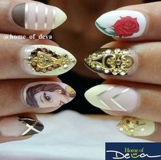 beauty and the beast nails by @home_of_deva