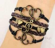 Heart, Treble Cleff/ Music Note and Double Heart Charm Bracelet - Bronze, Wax Cords and Leather