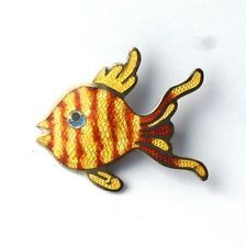 Vintage mid century Sterling Silver Guilloche Enamel Mexican Fish Brooch Pin