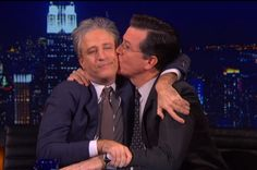 "Jon Stewart and Stephen Colbert have a touching reunion on ""The Colbert Report"" Political Memes, Politics, Jon Stewart Stephen Colbert, John Stewart, Late Night Comedians, Colbert Report, Intelligence Is Sexy, Late Night Show, John Oliver"