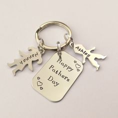 Personalised Fathers day gift - fathers day keyring - fathers day keychain - fathers day present - fathers day from son daughter by EmsStampedJewellery on Etsy