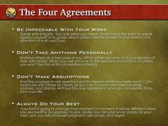 The Four Agreements:   Life Changing | noonegetsflowersforchronicpain
