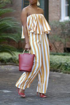 Women New Stylish Roaso Casual Dew Shoulder Striped One-piece Jumpsuit Yellow Mode Outfits, Chic Outfits, Fashion Outfits, Womens Fashion, Moda Fashion, Fashion Trends, Long Jumpsuits, Jumpsuits For Women, Yellow Jumpsuit