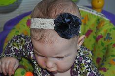 Fabric and lace blossom/bow on Baby headband- Navy Blue