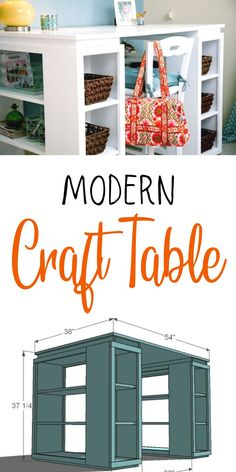 A beautiful craft table is simply a tabletop supported by bookshelves. #anawhite #anawhiteplans #crafttable #diy #diyfurniture Low Bookcase, Small Bookshelf, Bookshelves, Diy Furniture Tutorials, Diy Home Furniture, Furniture Ideas, Craft Desk, Craft Room Storage, Craft Rooms