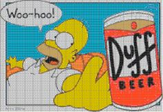 Cross-stitch Homer Simpson & Duff beer... no color chart available, just use pattern chart as your guide.
