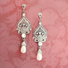 Bridal Pearl Earrings Pearl Chandelier Earrings by LottieDaDesigns, $58.00