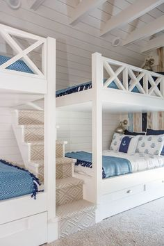 5 Wonderful Ideas of Triple Bunk Beds for Your Kids' Bedroom – Interior Design Bunk Bed Rail, Bunk Beds With Storage, Bed Rails, Bunk Bed Rooms, Kids Bunk Beds, Home Confort, Bed Frame Design, Bunk Bed Designs, Bedroom Designs