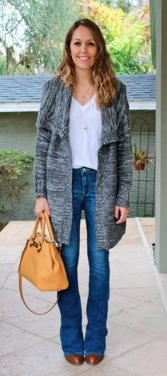 Gray sweater coat with flare jeans