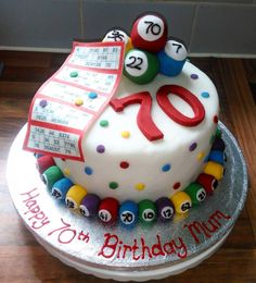 70th Birthday fondant bingo cake