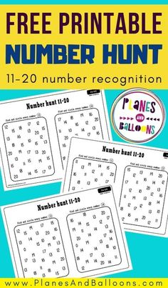 Number 11-20 worksheets for kindergarten - number recognition activity for teaching numbers in preschool and kindergarten. #prek #kindergarten #planesandballoons Number Recognition Activities, Preschool Number Worksheets, Numbers Kindergarten, Kindergarten Math Activities, Numbers Preschool, Preschool Door, Preschool Winter, Counting Activities, Preschool Curriculum