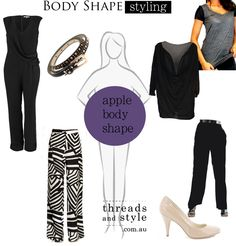 The Apple Body Shape The apple body shape is defined generally as a woman with slightly broader shoulders, an average to large bust, narrow. Apple Shape Outfits, Apple Shape Fashion, Dresses For Apple Shape, Apple Body Type, Apple Body Shapes, Curvy Fashion, Plus Size Fashion, Dress Body Type, Mommy Style